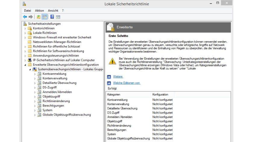Mit der erweiterten Funktion in Windows 8.1 können Sie Rechner umfassend überwachen.