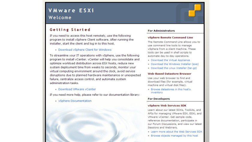 Kein Problem: Den Windows-Client zur Verwaltung von ESXi laden Sie nach der Installation direkt vom installierten Server herunter.