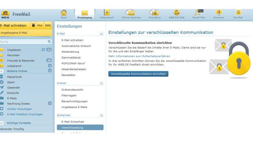 Assistent zur Einrichtung verschlüsselter E-Mails bei web.de