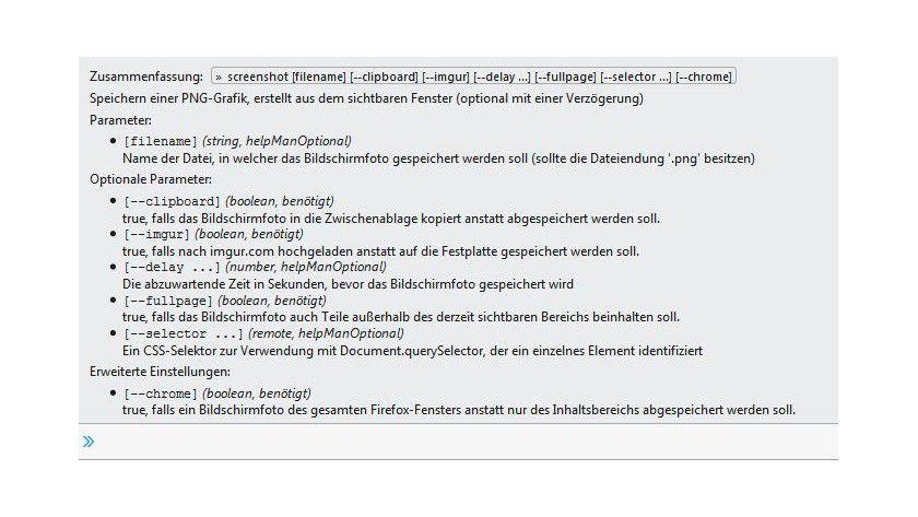 Firefox-Bordmittel: Welche Optionen der Screenshot-Befehl annimmt, verrät der Help-Befehl in der Kommandozeile der Entwickler-Tools.