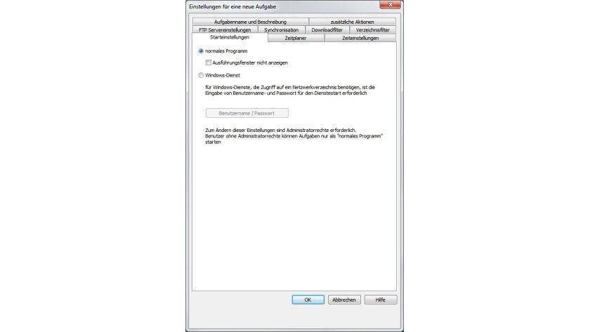Flexibler Start: WatchFTP lässt sich als normales Programm oder als Windows-Dienst ausführen.
