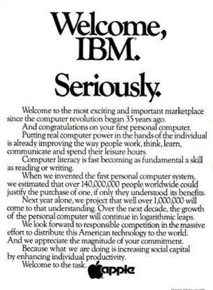 """Apple """"gratuliert"""" IBM 1981 in einer Zeitungsanzeige sarkastisch zu ihrem ersten Personal Computer."""