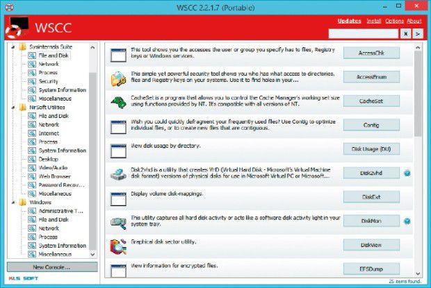 Windows System Control Center: WSCC vereint viele nützliche Tools von Nirsoft und Microsoft Sysinternals unter einer Oberfläche und zeigt jeweils Kurzbeschreibungen dazu an.