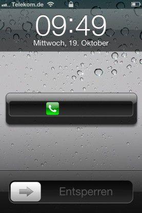 Unter iOS 5 kann man verpasste Anrufe auch bei aktivierter Sperre beantworten.