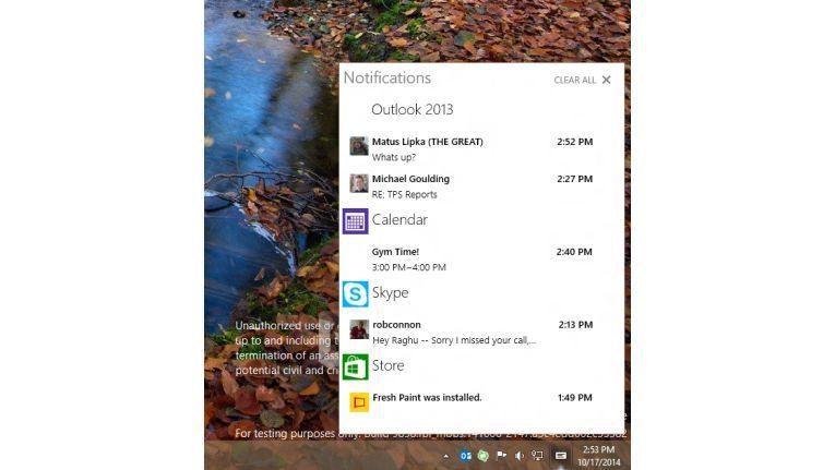 Windows 10 bekommt Info-Center