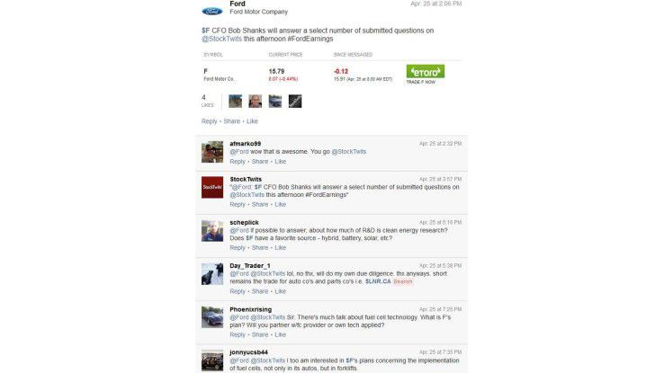 Earnings Presentation: Q&A-Session von Ford bei Stocktwits