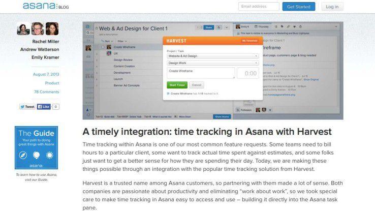 Asana integriert Harvest-Zeiterfassung: Native Integrationen, die im Rahmen einer strategischen Kooperation zwischen SaaS-Anbietern realisiert werden, versprechen die beste Nutzererfahrung. Ein gutes Beispiel dafür ist die Integration der Time-Tracking-Lösung Harvest in Asana, das populäre Task-Management von Facebook-Mitgründer Dustin Moskovitz.