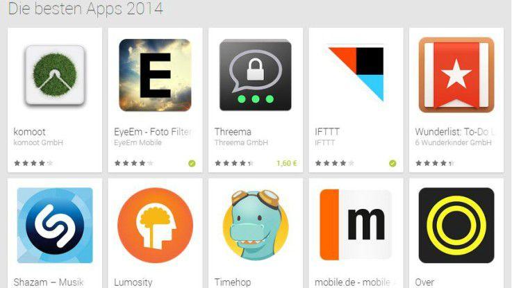 64 Apps haben es auf die Bestenliste von Google geschafft.