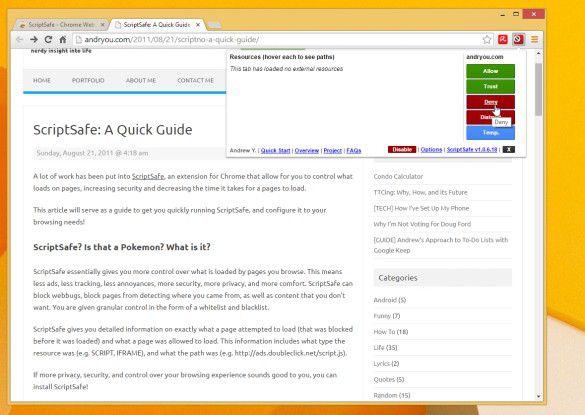 Das Add-On ScriptSave für Google Chrome kann für Web-Seiten mit aktiven JavaScript-Inhalten schützen.