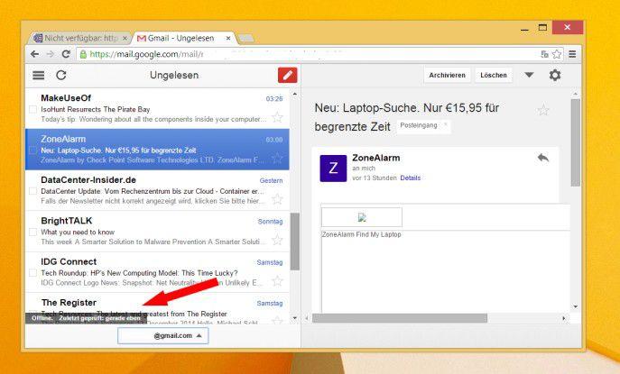 Zugriff auf die Mail auch ohne Online-Verbindung mittels Gmail Offline.