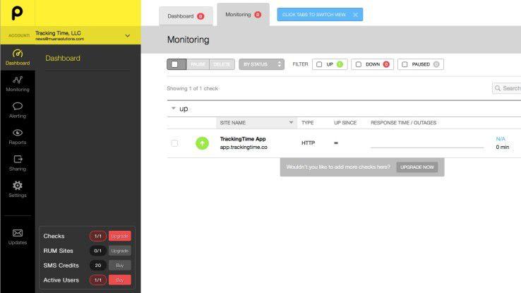 Auf dem Online-Dashboard kann man die Überwachung von beliebig vielen Online-Systemen, etwa Web- und E-Mail-Server oder APIs - zentral verwalten.