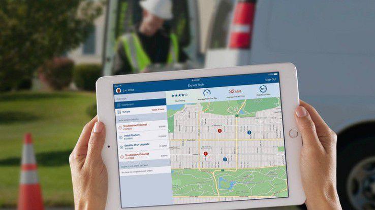 Expert Tech liefert dem Servicetechniker wichtige Echtzeitinformationen - etwa über die Fahrtzeit bis zum nächsten Kunden.