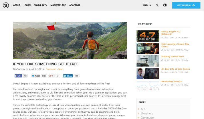 Epic Games stellt seine Unreal Engine 4 für Privatpersonen und Unternehmen als kostenlosen Download zur Verfügung.