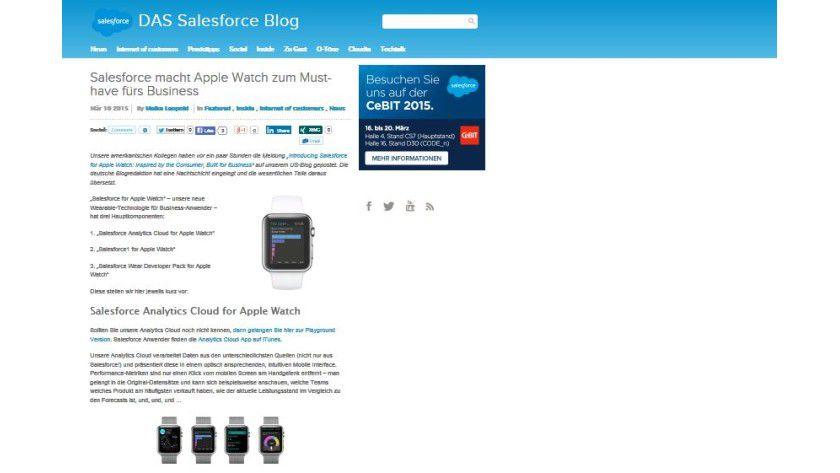 Salesforce sieht in seinem Blog eine Zukunft für Smartwatches im Business-Einsatz.