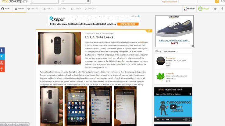 LG G4 oder LG G4 Notes? Im XDA-Devolpers diskutieren die User, welches Gerät diese Fotos nun wirklich zeigen.