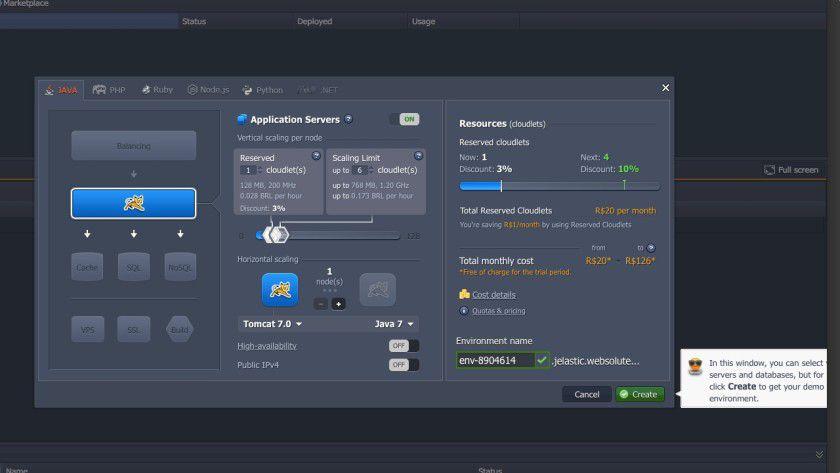 """Übersichtlich: Nach der Registrierung erhalten Anwender Zugang zu einem Online-Dashboard, auf dem sie Cloud-Umgebungen (im Programm """"Environments"""" genannt) anlegen, konfigurieren und verwalten können."""