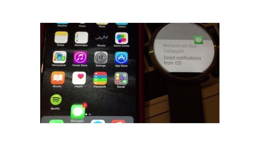 iPhone und Moto 360 Android Wear