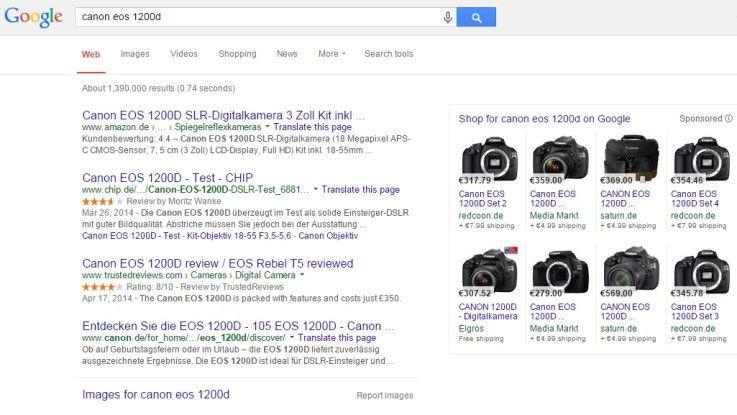 """Sucht man bei Google beispielsweise nach der """"Canon 12000D"""", erscheinen im rechten Bereich die Ergebnisse der """"Google Shopping""""-Suche sehr prominent - und sogar mit Foto."""