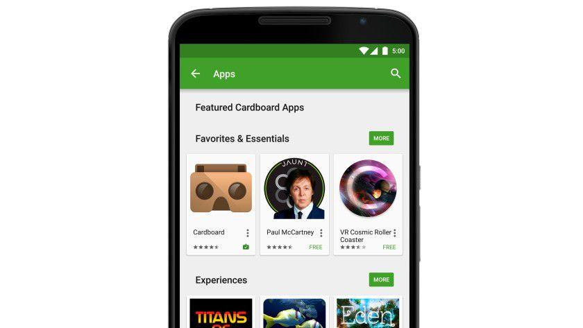 Google will die mit Cardboard kompatiblen Apps künftig auch im Play Store nach Kategorien sortieren.