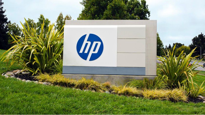HP-Firmenschild vor der Konzernzentrale