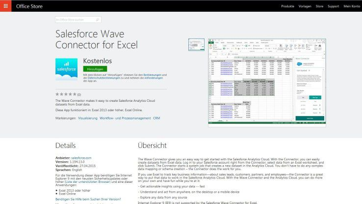Die Salesforce Wave Connector for Excel ermöglicht den Import und die Verarbeitung von Excel-Datensätzen in der Analytics Cloud.