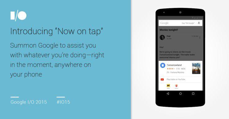 Google Now on Tab bietet Zusatzinformationen zur geöffneten App oder Website.