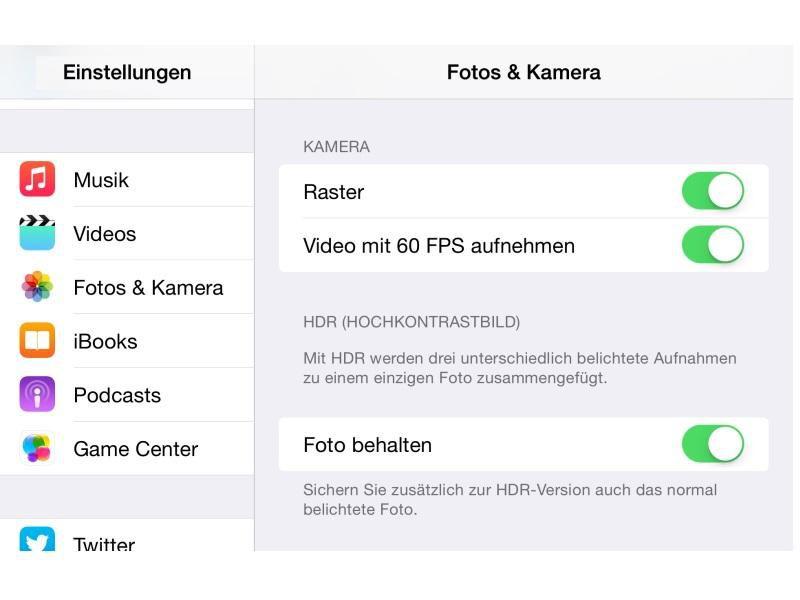 Bild: In den Einstellungen kann man beim iPhone 6 (Plus) für Videos ...