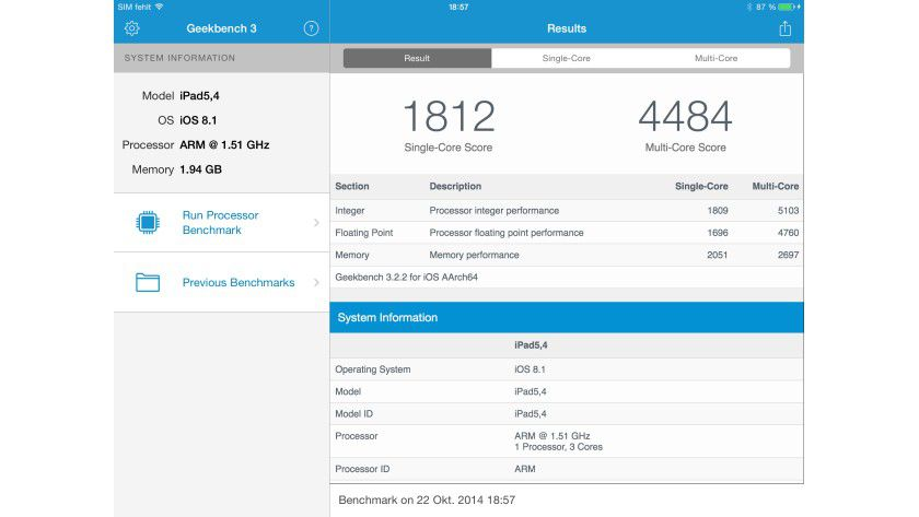 Das steckt ein dritter Kern drin: Das iPad Air 2 besitzt offenbar mit dem A8X einen Drei-Kern-Prozessor