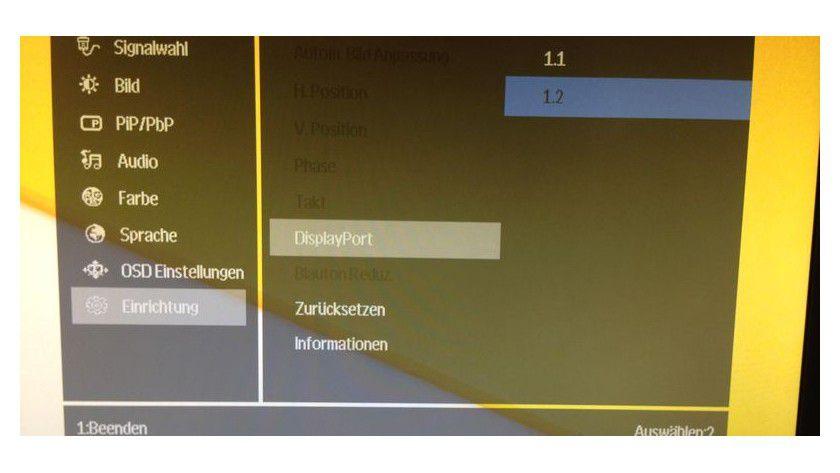 Viele UHD-Displays wählen nicht automatisch DisplayPort 1.2. Sie müssen den Anschluss im Onscreen-Menü manuell auswählen, um auf 60 Hertz Bildwiederholrate zu kommen.