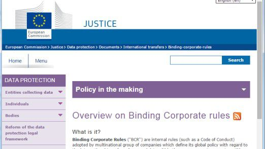 """Die Generaldirektion Justiz der Europäischen Kommission beschäftigt sich mit verbindlichen Unternehmensrichtlinien zum grenzüberschreitenden Austausch personenbezogener Daten, den sogenannten """"Bindung Corporate Rules"""" (BCRs)."""