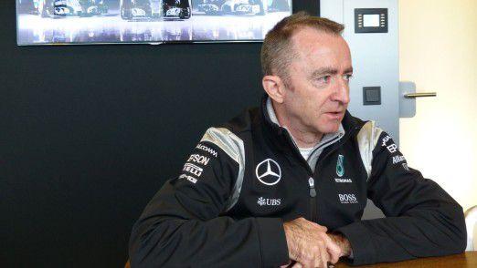 """""""Beim Speichern ist es schön, wenn sich mal nix dreht"""", sagt der ansonsten eher unter Strom stehende Paddy Lowe, IT-Verantwortlicher bei Mercedes AMG Petronas."""