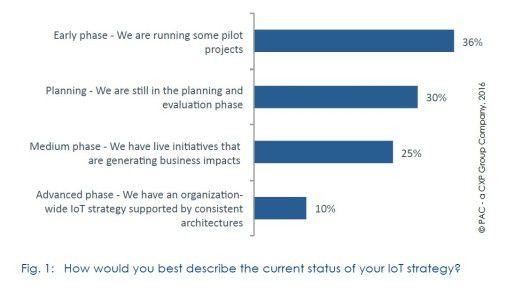 Insgesamt zwei von drei Unternehmen begreifen sich in puncto IoT-Strategie noch in der Früh- oder Planungsphase.
