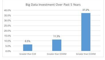Mehr als die Hälfte der Befragten hat in den vergangenen fünf Jahren eine Million Dollar oder mehr in Big Data investiert.
