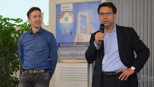 Organisiert wurden die Siemens Hackathon Days vom hauseigenen virtuellen Startup #Idea. #Idea-Gründer und CEO Patrick Pernegger (li.) und Siemens-CIO Helmuth Ludwig begleiteten die zwei Tage in München.