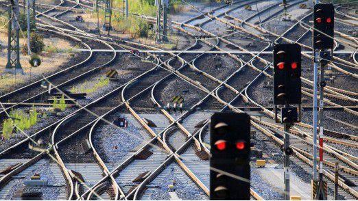 Weichen und Gleisverbindungen im Nürnberger Rangierbahnhof.