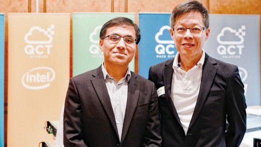 QCT-CEO Mike Yang (r.) und R+D-Vize James Jau (l.) bei der Präsentation in München.