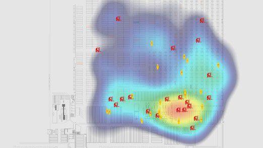 Heatmap einer intelligenten DHL-Lagerhalle