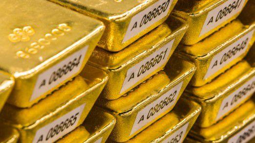 Goldbarren im Tresor der Deutschen Bundesbank.