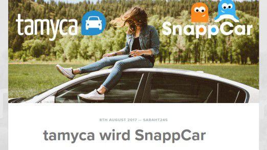 SnappCar übnernimmt die deutsche Tamyca, wie hier im offiziellen SnapCar Blog verkündet.