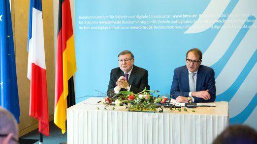 Bundesverkehrsminister Alexander Dobrindt und der französische Politiker Alain Vidalies unterzeichneten bereits im Frühjahr 2017 eine Vereinbarung zur Einrichtung eines deutsch-französischen Digitalen Testfelds.