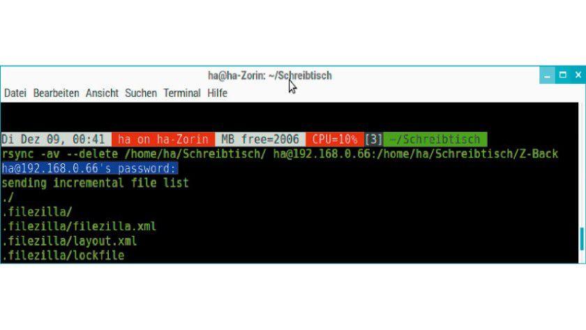 Rsync-Sicherung auf einen entfernten Rechner: Das Programm nutzt automatisch eine SSH-Verbindung, wenn es auf eine Server-Notation trifft, und fragt dann nach dem User-Kennwort. Das grafische Front-End Grsync verhält sich entsprechend.