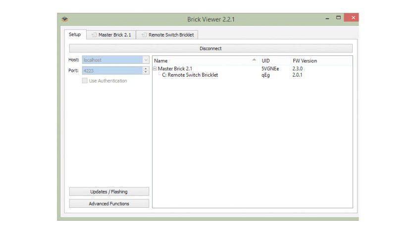 Dazu dient das Tool BrickViewer, das nach Installation des jeweiligen Brick Daemons sowohl unter Linux als Windows nutzbar ist