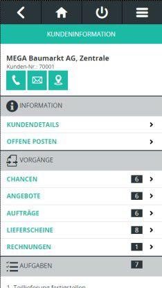 Abas Mobile Sales: Vertriebsmitarbeiter können per Smartphone auf die Kundenhistorie zugreifen und Angebote erstellen.