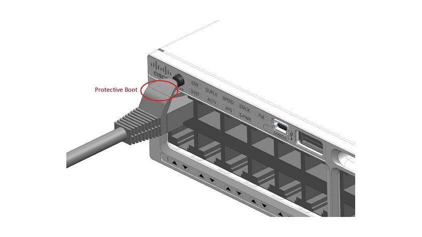 Unglückliches Design: Der Express-Setup-Knopf befindet sich ungeschützt oberhalb von Port 1
