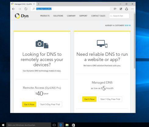 Das ehemalige DynDNS.org kann heute nur noch drei Tage kostenlos getestet werden. Es stehen aber viele Alternativen im Netz bereit, die einen solchen Dienst kostenlos anbieten.