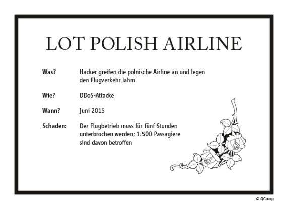 Prominente Opfer gab es auch 2015 wieder: So musste die polnische Fluglinie LOT nach einem Hackerangriff für 5 Stunden den Flugbetrieb einstellen.