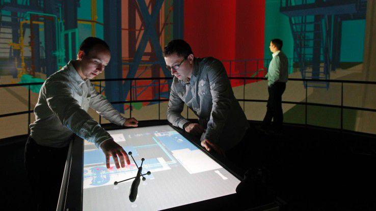 """Das Fraunhofer Forschungslabor """"Elbe Dom"""" ermöglicht die 360-Grad-Projektion komplexer Maschinen und Infrastrukturen."""