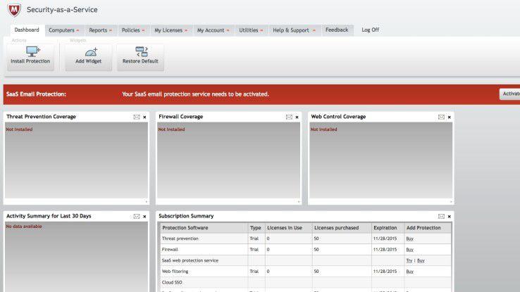 Zentrale Web-Konsole: Die Sicherheitsverwaltung erfolgt auf einem Online-Dashboard. Die webbasierte Verwaltungskonsole zentralisiert die Installation, Konfi.guration, Berichterstellung sowie Sicherheitsaktualisierungen der im Unternehmen eingesetzten Endgeräte.