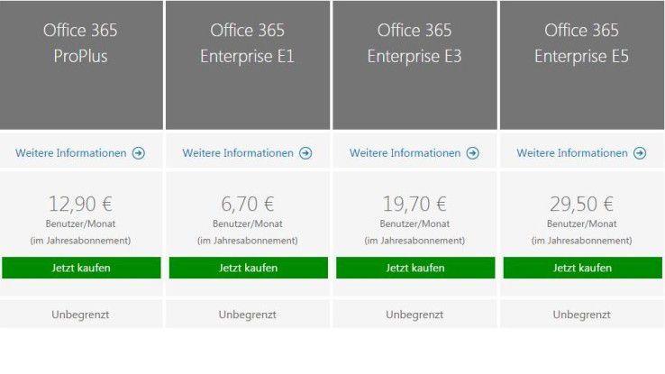 Office 365 Enterprise E5 kostet 29,50 Euro pro Nutzer und Monat.