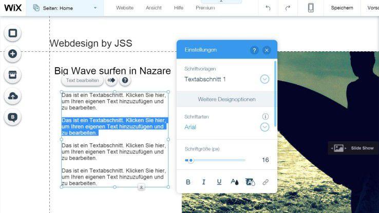 Texte mit dem Editor frei bearbeiten und überall auf der Website positionieren - Wix.com macht es möglich.